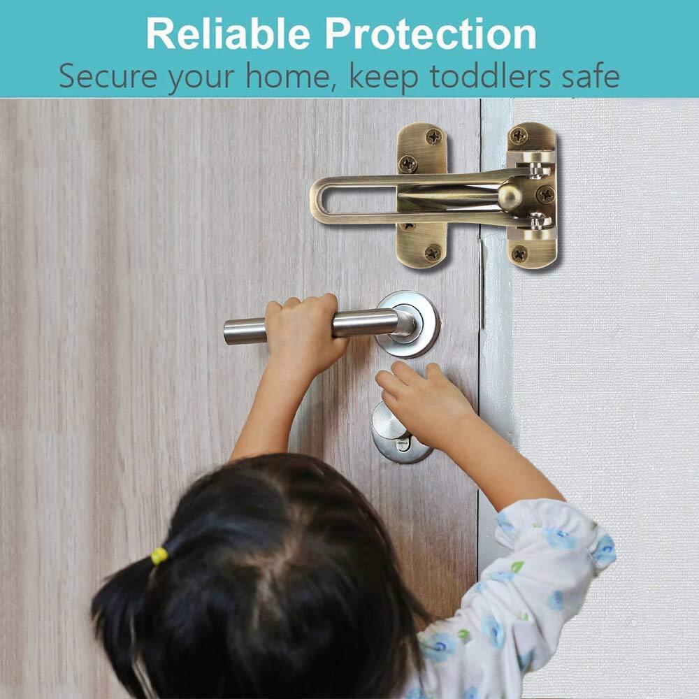 Door Swing Bar Lock, Home//Hotel Reinforcement Door Security Guard for Swing-in Doors Thicken Solid Aluminium Alloy Front Door Inside Latch 2 Pack Antique Brass