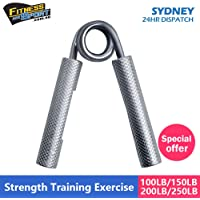 Metal Hand Gripper Powerful Grip Strengthener, Best Wrist, Forearm, Hands & Finger Exerciser | Singer Gripper in 4 Resistance Levels or Strength Capacity (100 lbs, 150 lbs, 200 lbs and 250 lbs Pull) Strong and Redefined Ergonomic Knurled Chrome Steel, Non-Slip and Rust-Proof Equipment Workout at Home or Gym by HCE