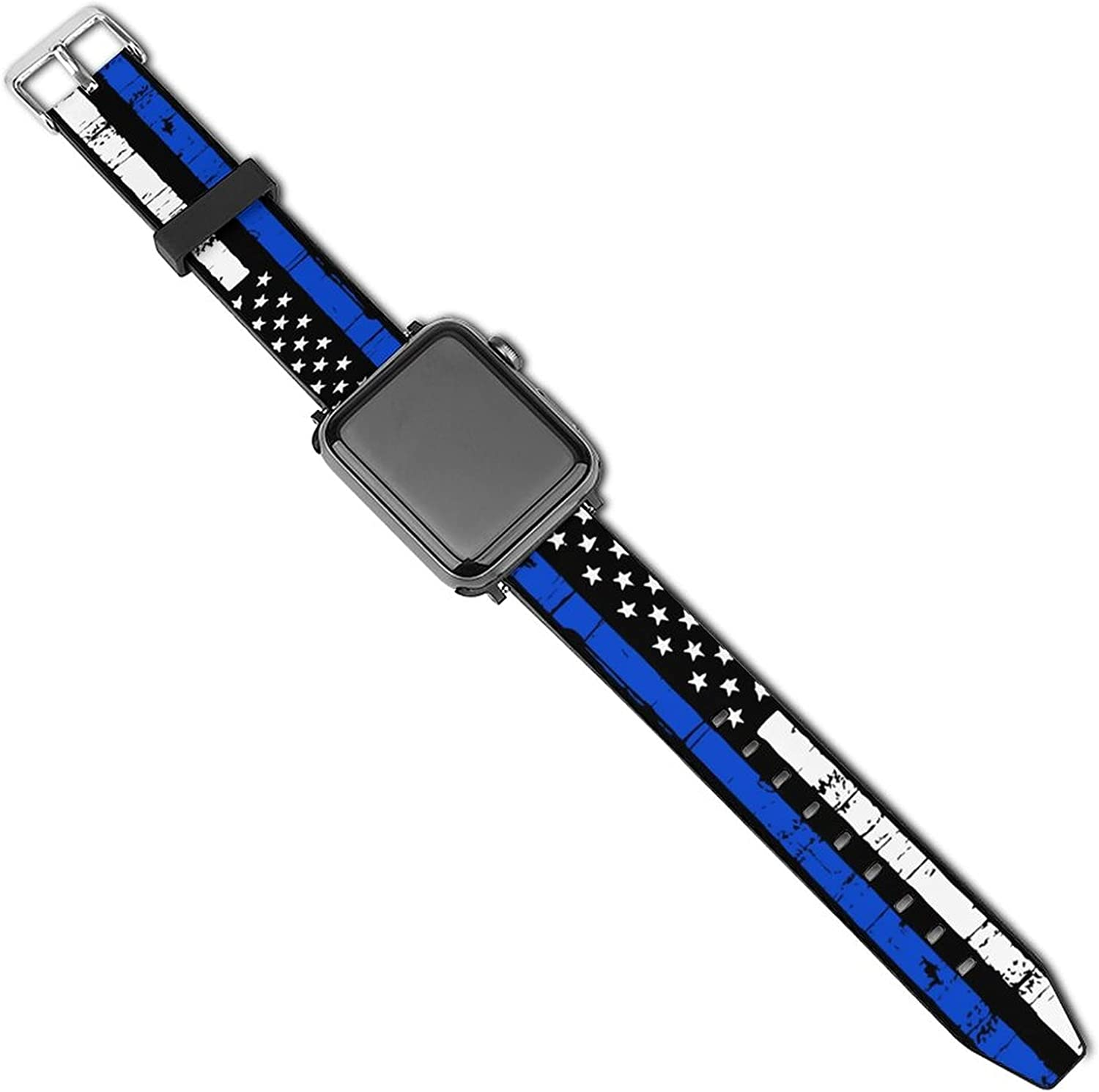 Thin Blue Line Personalized Badge Number Police Compatible with Apple Watch Sport Bands 38mm 40mm 42mm 44mm , iWatch 6 5 4 3 2 1 Series Leather Printed Strap Soft PU Watch Bands