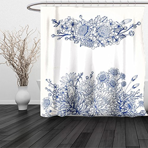 Excel Bouquet (HAIXIA Shower Curtain Blue Artistic Floral Bouquet Corsage Carnations Chamomiles Bridal Wedding Anniversary Theme Queen Full Blue White)