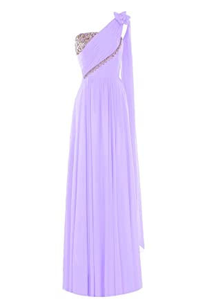 Kuse Womens One Shoulder a Line Chiffon Beaded Prom Dresses Size 6 UK Lilac