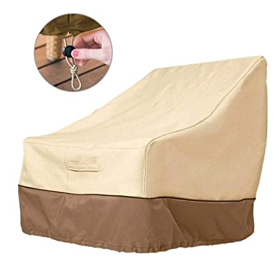MAOVI Outdoor High Back Patio Chair Cover Waterproof Garden Rocking Chair Seat Cover Balcony Reclining Rattan Armchair Furniture Lounge Deep Seat Cover Beige: Kitchen & Dining