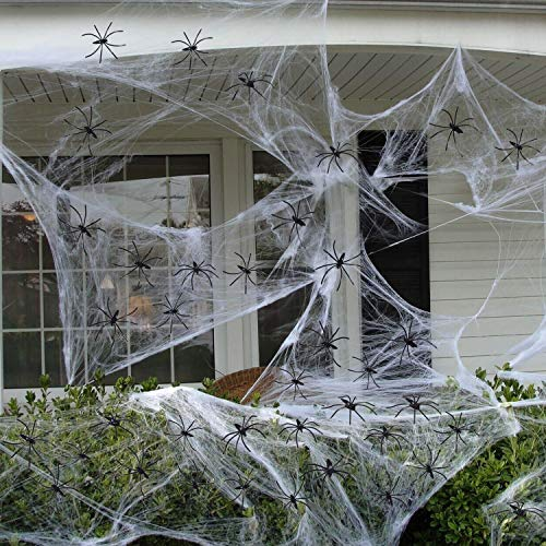 Fake Spider Web(32 Extra Spiders) for Halloween Indoor/Outdoor Decorations -