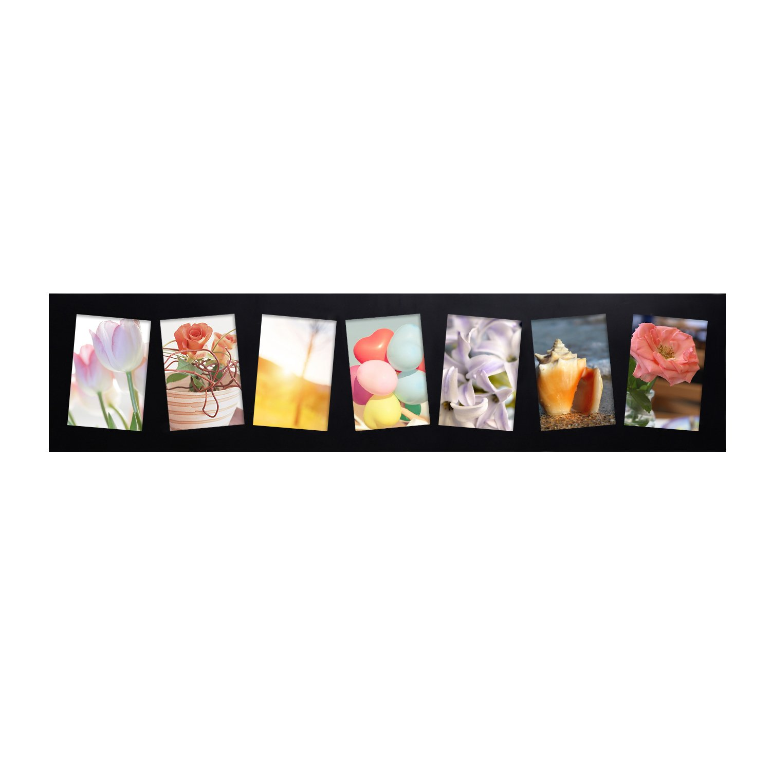 Adeco Decorative Black Wood Wall Hanging Collage Picture Photo Frame, 7 Slanted Tilted Skewed Openings, 4x6'' each