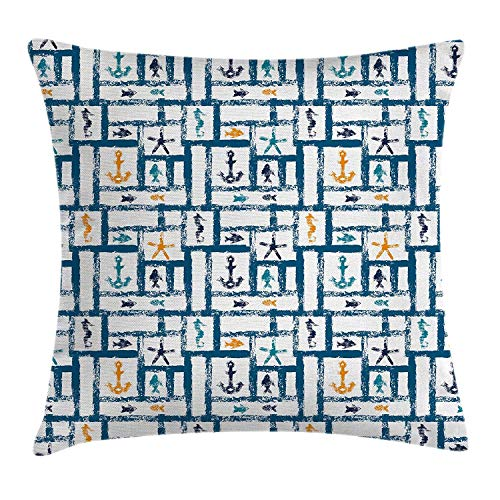 Navy Throw Pillow Cushion Cover, Marine Grunge Starfish Anchor Seahorse Underwater Marine Murky Design, Decorative Square Accent Pillow Case, 18 X 18 Inches, Petrol Blue Marigold Teal