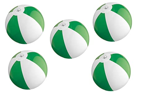 5 x mini pelota de playa/agua Ball/Color: Verde y Blanco: Amazon ...