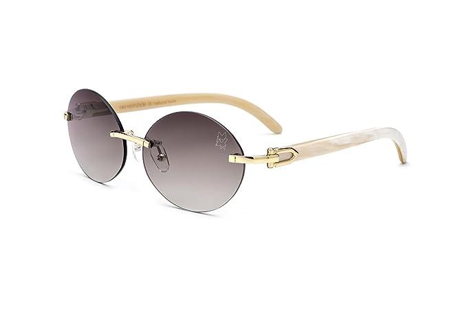 7d17ef95a828 HEPIDEM Handmade Horn Sunglasses Round Rimless Buffalo Horn Luxury Sun  Eyewear Spectacles 0817 (Coffee,