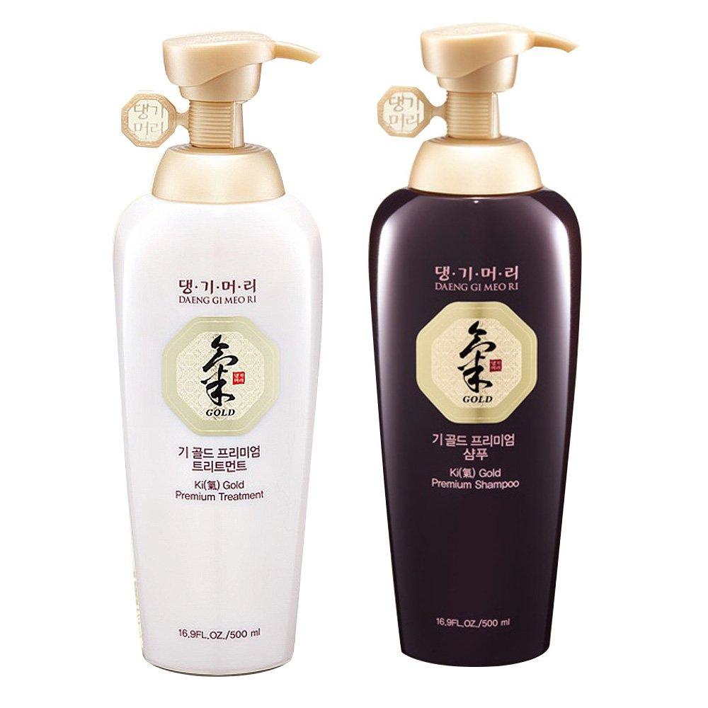Daeng Gi Meo Ri Ki Gold Premium Shampoo + Treatment Set (500ml) for Hair Loss, Thin Hair, Gray Hair Prevention and Treatment, Medicinal Herbal Shampoo, All Natural, Korea's No. 1 Hair Brand Korea' s No. 1 Hair Brand