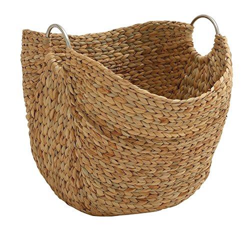 Mirror Water Hyacinth Round - Deco 79 49044 Modern Brown Seagrass Basket With Handles 19