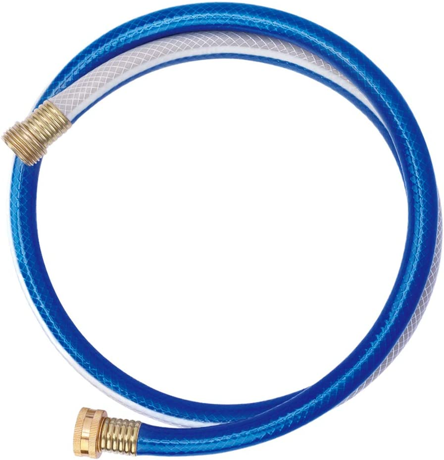 Solution4Patio Homes Garden 4 ft. Short Garden Hose 5/8 inch Blue Lead-Hose Male/Female Commercial Brass Coupling Fittings for Water Softener, Dehumidifier, RV Filter and Camp Water Tank
