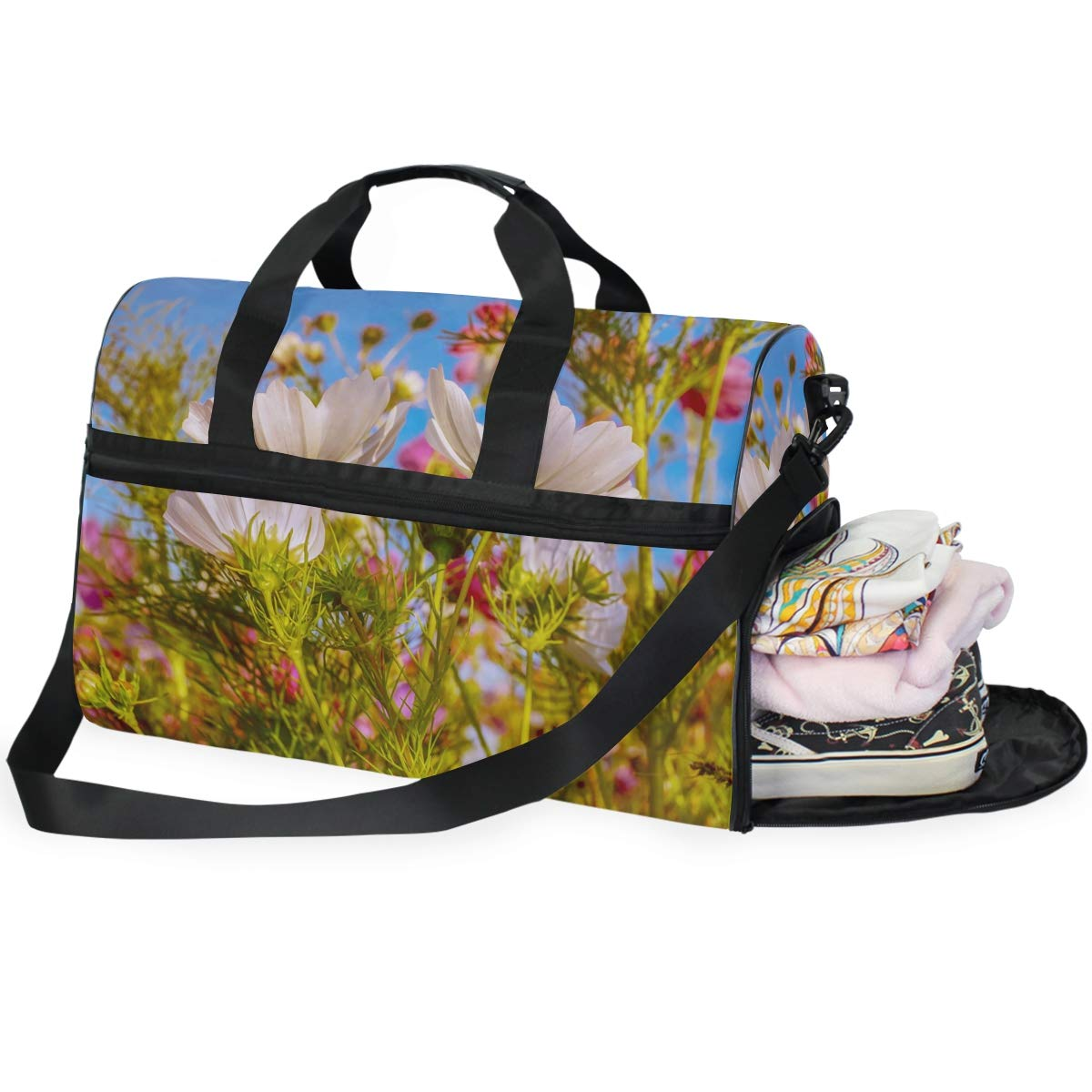 FAJRO Gym Bag Travel Duffel Express Weekender Bag Cosmea Flower Carry On Luggage with Shoe Pouch