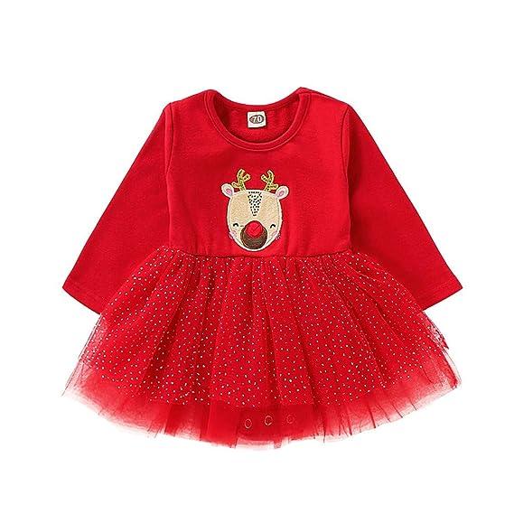 ASHOP Vestidos niña/Vestido Impresión de Ciervos de Dibujos ...