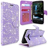 ZTE Obsidian Case, ZTE Z820 Case, Cellularvilla [Slim Fit] [Stand Feature] Premium Pu Leather Wallet Case [Card Slots] Book Style Protective Flip Cover For ZTE Obsidian Z820 (Purple Glitter)