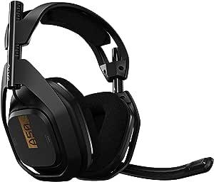 Headset Sem Fio ASTRO Gaming A50 + Base Station Gen 4 com Áudio Dolby/Dolby® Atmos para Xbox Series, Xbox One, PC, Mac - Preto/Dourado
