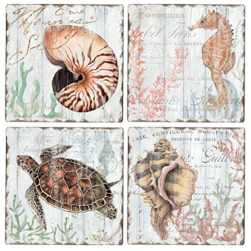 - CounterArt Set of 4 Assorted Tumbled Tile Coasters, Turtles and Sealife
