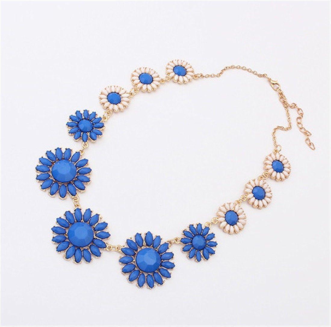 Qiyun Daisy Flower Gradual Link Gold Chain Necklace Girls Fleur Marguerite Lien Progressive Filles D'Or Collier W005N1349