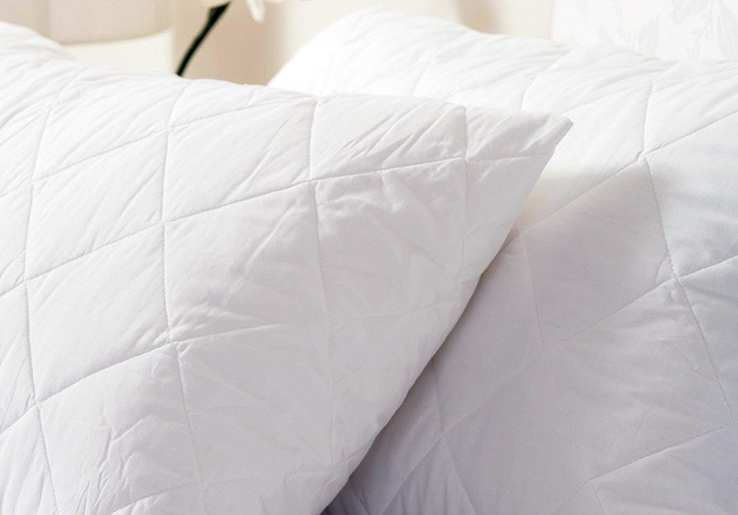 Bid Buy Direct® Pack of 2 Quilted Pillow Protectors | Quilted for Extra Insulation and Protection with Complete 13cm Flap for a Secure Fit - Designed to Increase Life of your Pillows! Fits All Standard Sized Pillows | Machine Washable (Pack of 2) [Energy