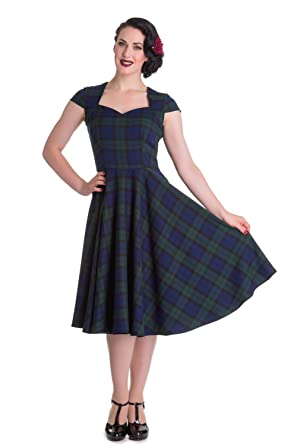 a723351075de05 Hell Bunny Pinup 50s Dress Aberdeen Green/Blue Tartan Dublin: Amazon ...