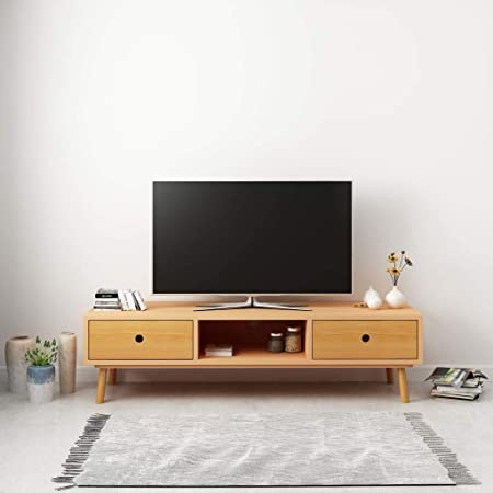 UnfadeMemory Mueble para TV con 2 Cajones y 1 Compartimento,Mesa para TV,Armario para Equipos,Estilo Escandinavo,Madera Maciza de Pino,120x35x35cm (Marrón): Amazon.es: Hogar