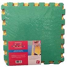 "LA Productions Kid's Puzzle Exercise Play Mat -4 EVA Foam 15"" x15"" Interlocking Tiles, Multi Color"