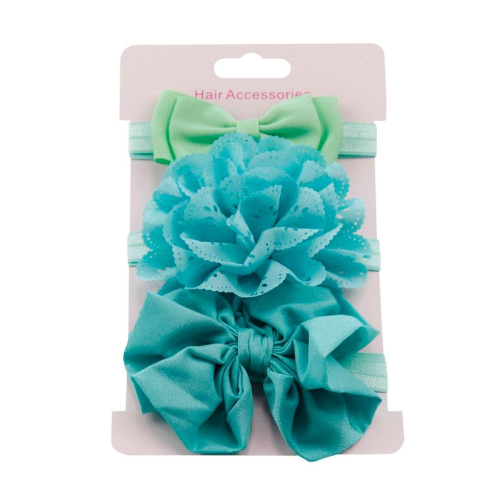 Clearance! 3pcs Baby's Headbands Girl's Cute Hair Bows Hair Bands Newborn Headband (Blue)