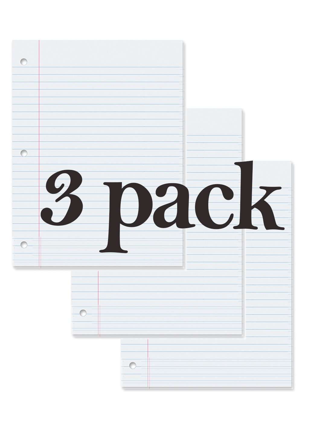 Filler Paper, Loose Leaf Paper, Wide Ruled Paper, 150 Sheets, 10-1/2'' x 8'', White, (3 Pack)