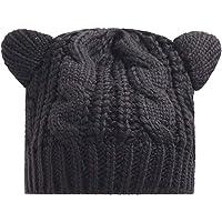 Ogquaton Boina de punto de lana con orejas de gato Sombrero de gorro de invierno cálido Boina de moda para mujer Negro 1…