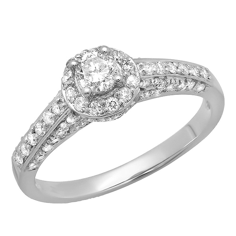 0.80 Carat (ctw) 14K White Gold Round Diamond Ladies Bridal Halo Style Engagement Ring 3/4 CT