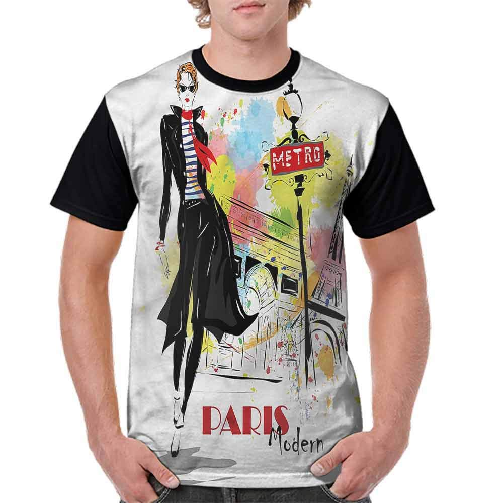 Unisex T-Shirt,Paris Streets Urban City Life Fashion Personality Customization