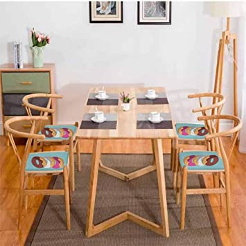 Anime Dining Table Chair Kawaii Cartoon Style Colorful Donuts With Funny And Cute Faces On Blue Background Comfortable Multicolor W13 5 X L13 5 4pcs Set Amazon Co Uk Office Products
