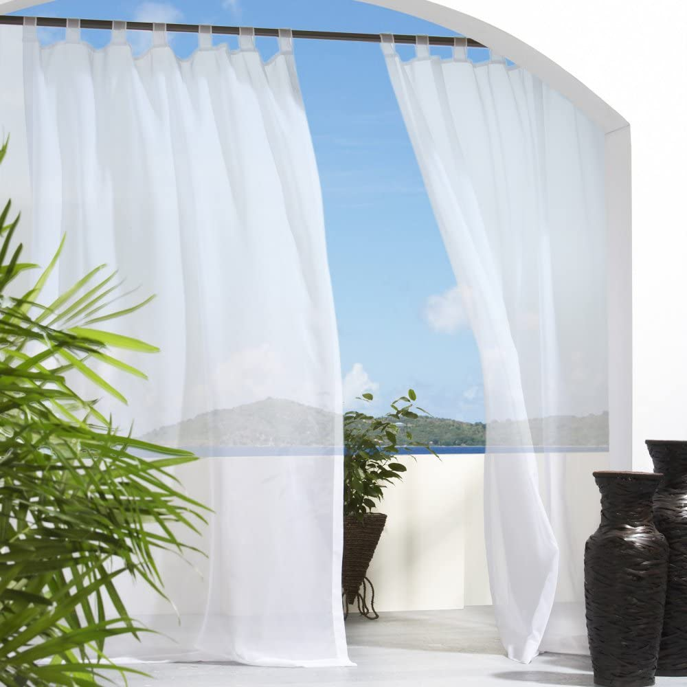 """Outdoor décor Escape Water Repellent Sheer Outdoor Curtain, 54"""" X 96"""", White"""