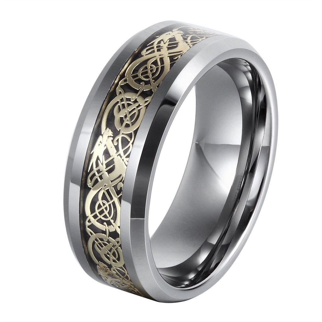 L-Ring 8MM Men's Tungsten Wedding Ring Gold Plated Celtic Dragon Inlay Polished Beveled Edge, Size 7-14(11)