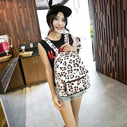 Wemi Girls Flower Printing pu Leather Backpack Hiking Camping Bags School backpacks (Leopard)