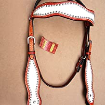 HILASON WESTERN LEATHER HORSE HEADSTALL BREAST COLLAR WHITE PINK BLACK FRINGES