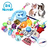 FOCUSPET Cat Toys Variety Pack,Best Cat Toys for Exercise,Interactive LED Light,Cat Teaser Wand,Interactive Feather Toy Fluffy Mouse,Mylar Crinkle Balls Catnip Pillow for Kitten Kitty Puppy (24PACK)