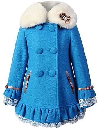 Amazon.com: Big Girls Elegant Faux Wool Collar Winter Coats Warm ...