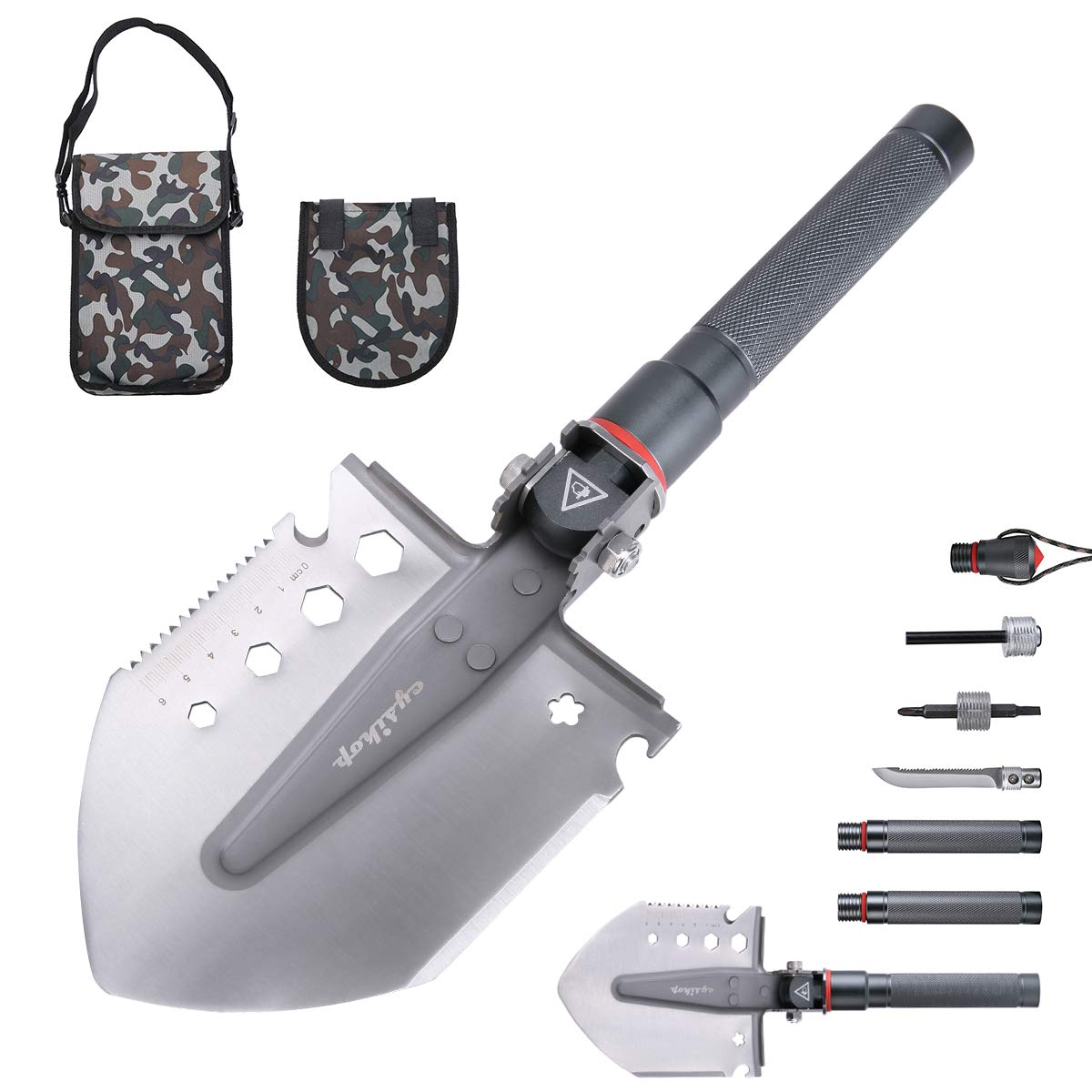 Cysikop Portable Camping Survival Shovel Entrenching Tool with Carrying Pouch Metal Handle for Camping, Hiking, Backpacking,Gardening,Fishing,Car Emergency etc.