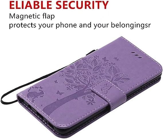 HUIZHIHUA Custodia compatibile per Cover Samsung Galaxy Note 10 Cover 360 gradi protezione Pelle con Magnetico Snap-on Slot Portafoglio Supporto Flip case antiurto-Viola chiaro