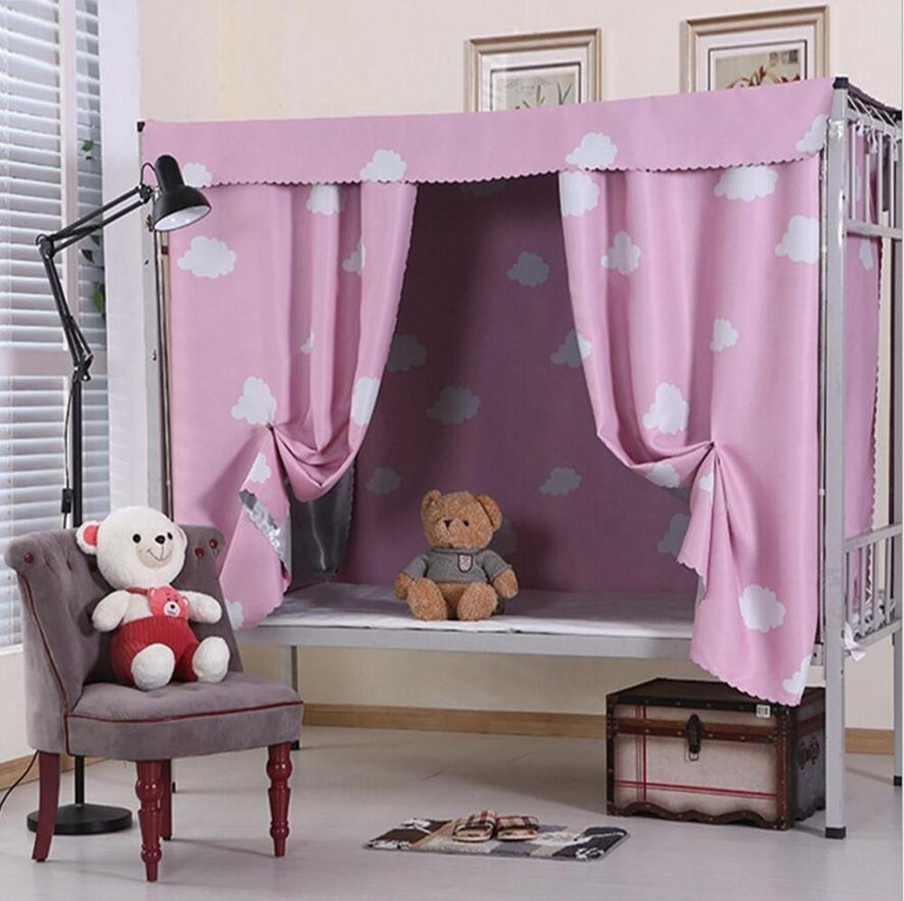 Bed Curtain Thicker physical Shading cloth Bed mantle student dorm room Bedroom Top shop lower berth , pink , 1.5MX2M wexe.com