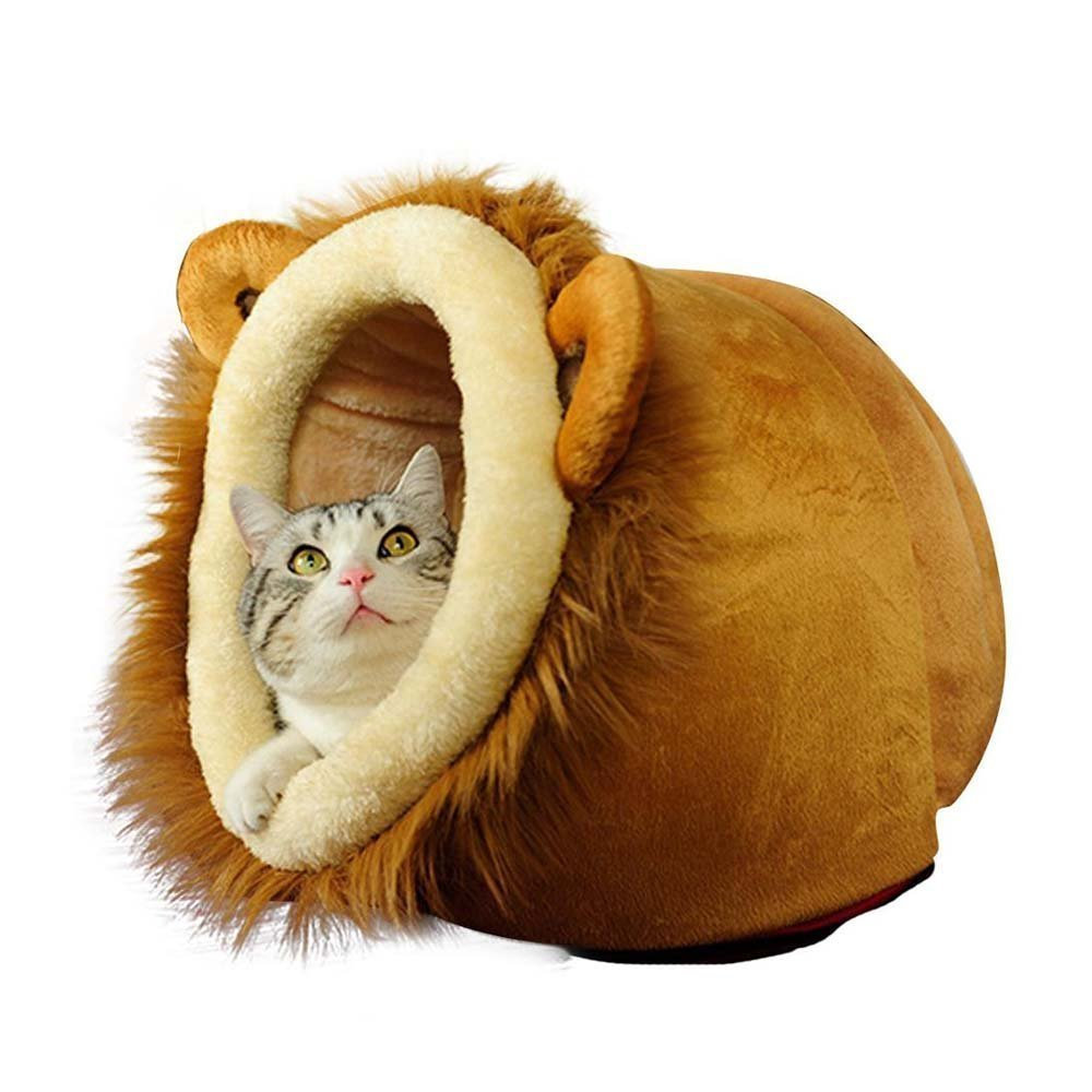 Amazon.com : OWIKAR Cat/Dog House Bed Soft Warm Cotton Padded Plush Nest Cute Lion Head Pet Bed Cave House Puppy Mat Pad Washable with Removable Cushion ...