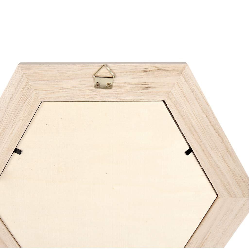 hexagonal 26x26 cm Miroir dim la taille du trou: 18x18 cm 1pi/èce paulownia