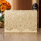 Laser cutting Gold Wedding invitation card holder Pocket Cards Wedding Party Favors ,customizable (Gold, 100)