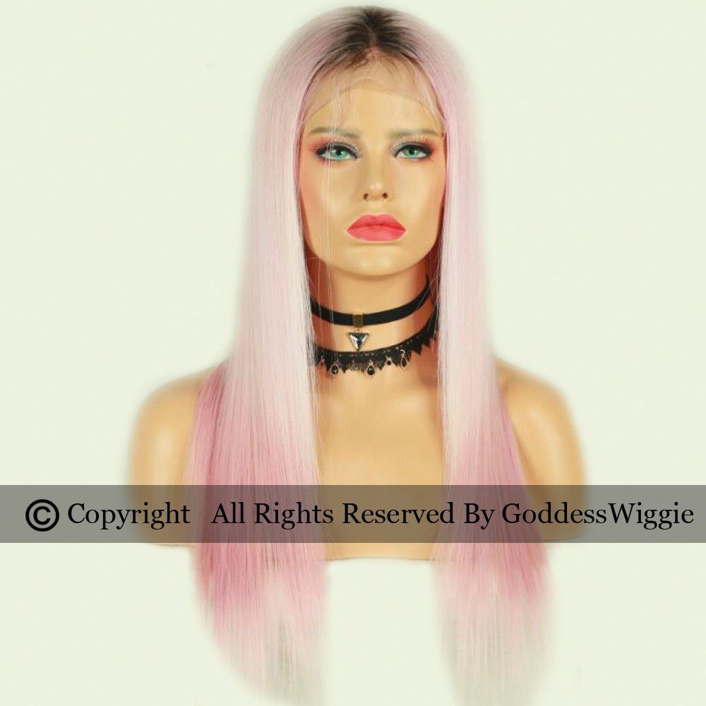 Dark Roots Silky Straight Pink Lace Front Wigs Ombre Pink Remi Hair Human Hair Wigs For Women (20inch 150density)