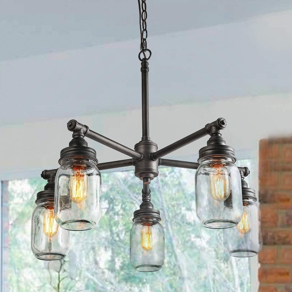 LNC Sputnik Chandeliers for Dining Room,Farmhouse Vintage Water Pipe Glass Mason Jar Lights 5 Heads ,Black Silver Brushed A03480