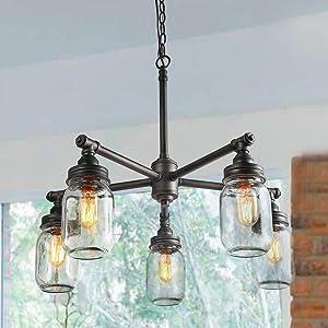LNC Sputnik Chandeliers for Dining Room,Farmhouse Vintage Water Pipe Glass Mason Jar Lights (5 Heads),Black Silver Brushed A03480