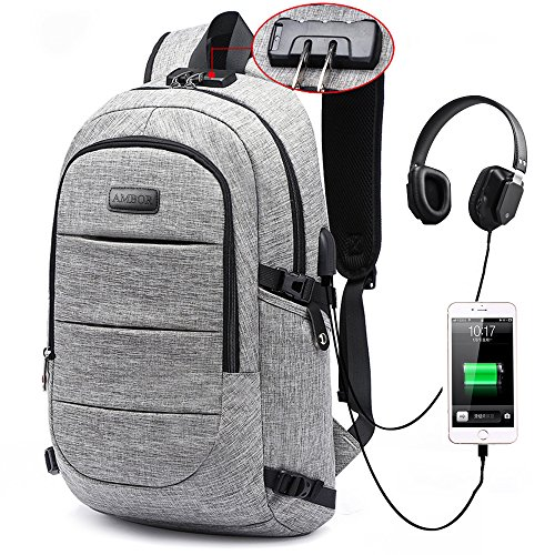 Laptop Backpack, Business Anti Theft Waterproof Travel Backpack with USB Charging Port & Headphone interface for College Studentfor Women Men,Fits Under 17-Inch Laptop Notebook by AMBOR