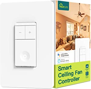 Treatlife Smart Ceiling Fan Control, 4 Speed Fan Switch for Ceiling Fan, Neutral Wire Required, Smart Home Devices that Works with Alexa and Google Assistant, Remote Control, Schedule, No Hub Required
