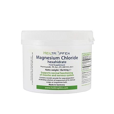 Cloruro de Magnesio 454g, Hexahidrato, Grado Farmacéutico, Polvo de Cristal, Pure Ph. Eur., BP, USP, 100% Comestible - Alivio del Dolor Muscular