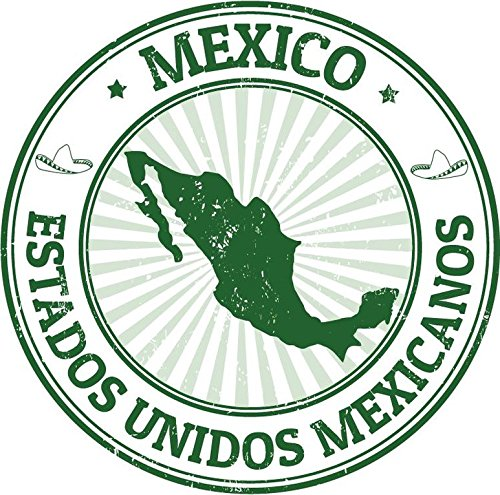 Mexico North America Travel Green Rubber Stamp Sticker Decal Design 5'' X 5''