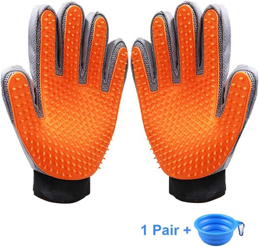 KAXYEW [Upgrade Version] Pet Grooming Gloves - Dog Deshedding Glove - Efficient Cat Glove Brush- Pet Hair Remover Mitt Glove with Enhanced Five Finger Design for Dog & Cat